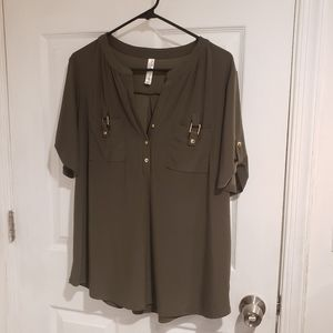 Olive Green 1/4 button up blouse NWOT